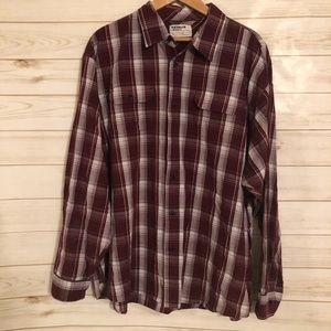 Wrangler Men's Maroon & Gray Long Sleeve Shirt